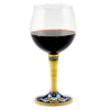DERUTA STEMWARE: Burgundy Balloon Glass on Hand Painted Ceramic Base CELESTE Design