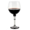 DERUTA STEMWARE: Burgundy Balloon Glass on Hand Painted Ceramic Base DERUTA VARIO Design