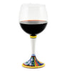 DERUTA STEMWARE: Burgundy Balloon Glass on Hand Painted Ceramic Base ELENA Design