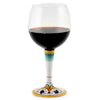 DERUTA STEMWARE: Burgundy Balloon Glass on Hand Painted Ceramic Base PERUGINO Design