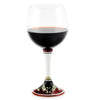 DERUTA STEMWARE: Burgundy Balloon Glass on Hand Painted Ceramic Base POMPEI Design