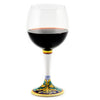 DERUTA STEMWARE: Burgundy Balloon Glass on Hand Painted Ceramic Base VENEZIA Design