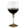 DERUTA STEMWARE: Burgundy Balloon Glass on Hand Painted Ceramic Base VARIO 4 Design