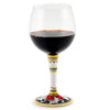 DERUTA STEMWARE: Burgundy Balloon Glass on Hand Painted Ceramic Base VARIO 6 Design