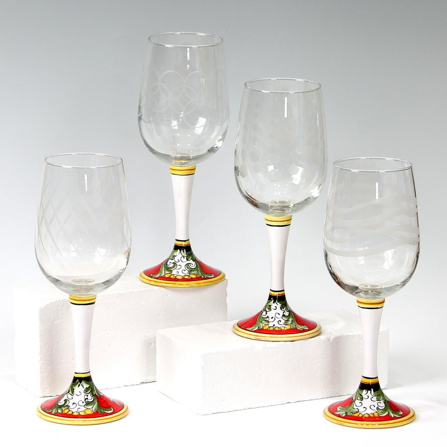 DERUTA STEMWARE: Set of Four Decorated Stemware on Hand Painted Ceramic Base TIZIANO Design