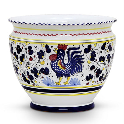 ORVIETO BLUE ROOSTER: Luxury Cachepot Planter Large