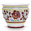 ORVIETO RED ROOSTER: Luxury Cachepot Planter Large
