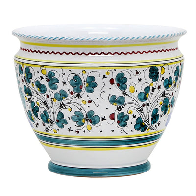 ORVIETO GREEN ROOSTER: Luxury Cachepot Planter Large