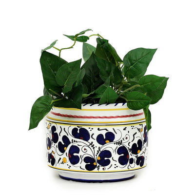 ORVIETO BLUE ROOSTER: Cylindrical Cover Pot - Cachepot Planter (Small)