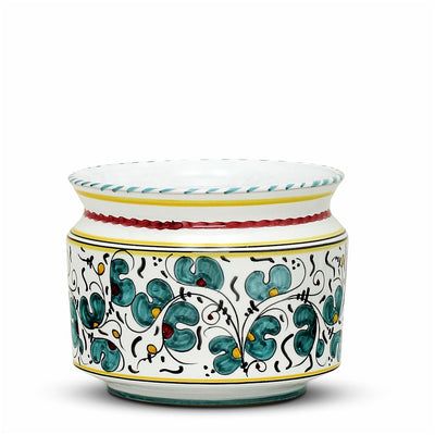 ORVIETO GREEN ROOSTER: Cylindrical Cover Pot - Cachepot Planter (Small)