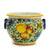 "TUSCANIA: Round Tuscan cachepot with side rings (Medium 14.5"" Diam.)"