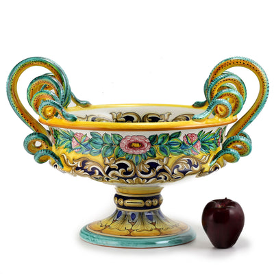 EXCELSIOR: Luxury Deruta Large Centerpiece with serpentine handles ~ XV Century Reproduction.