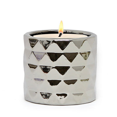 MONDIAL CANDLES: Architect Silver Design Ceramic Container Candle SILVER