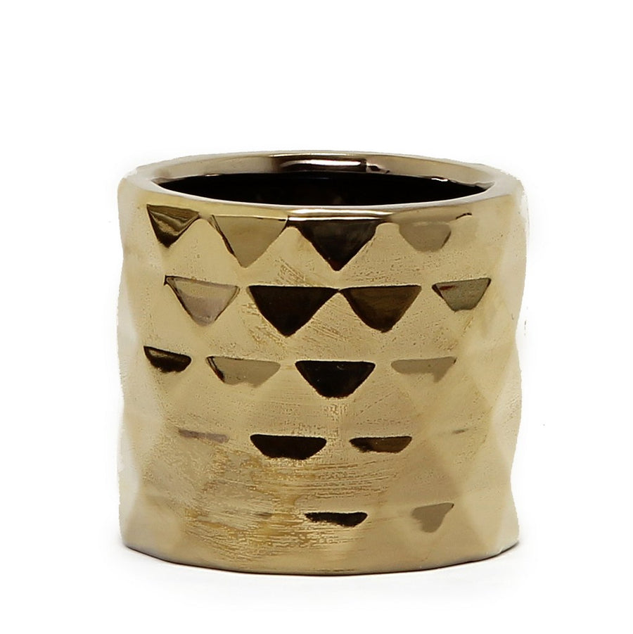 MONDIAL CANDLES: Architect Gold Design Ceramic Container Candle GOLD