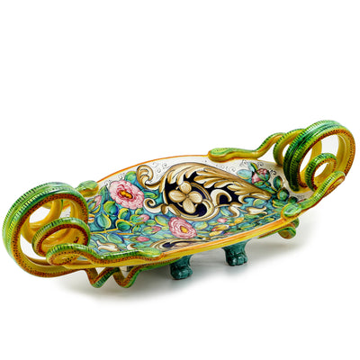 PRIMA CLASSE: Deruta Oblong Centerpiece with serpentine handles