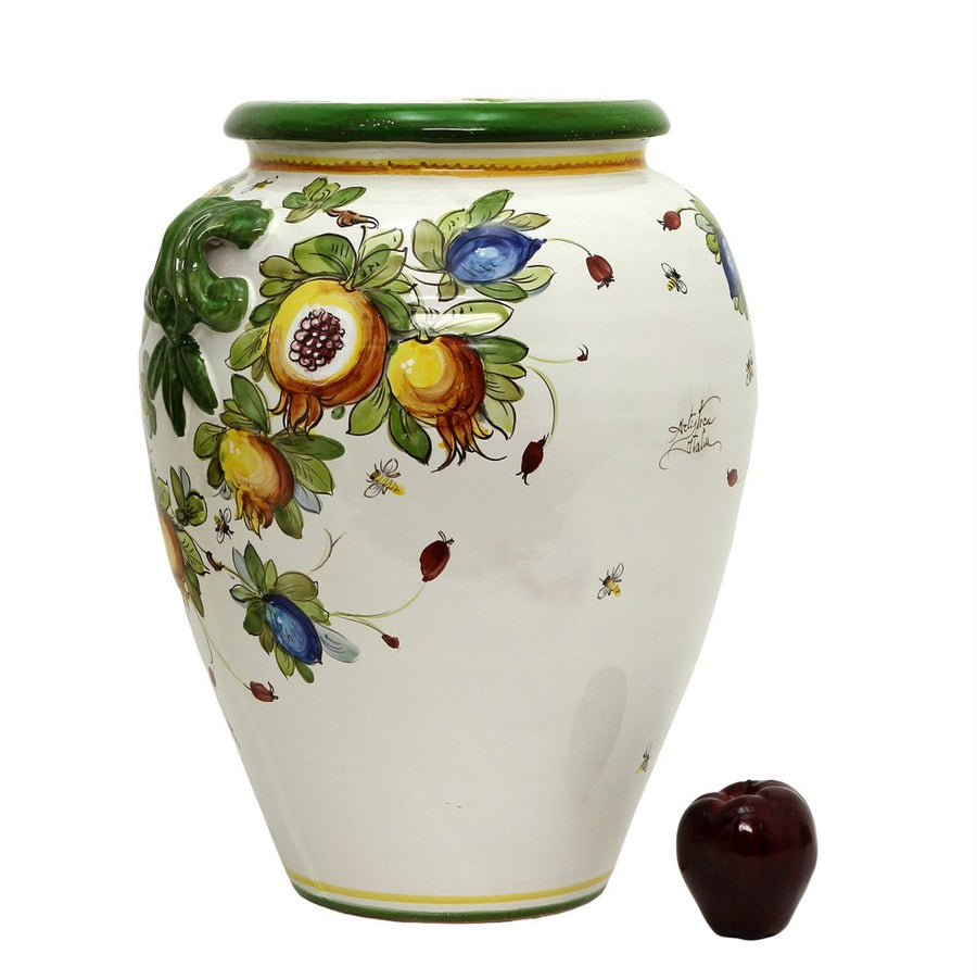 MAJOLICA TOSCANA: Tuscan Orcetto Large Vase with Frutta design