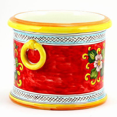 LIMONI FONDO ROSSO: Round cachepot with rings