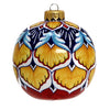 CHRISTMAS ORNAMENT: Deruta Vario Round Ball Large - Blue-Gold-Aqua-Red
