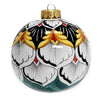 CHRISTMAS ORNAMENT: Deruta Vario Round Ball Large - Green-White-Black-Gold