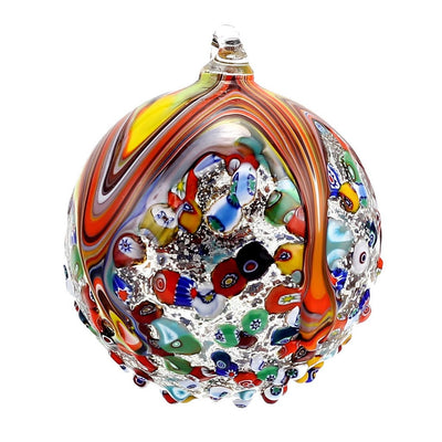 MURANO GLASS: Christmas Ornament Genuine Murrina Millefiori MULTI