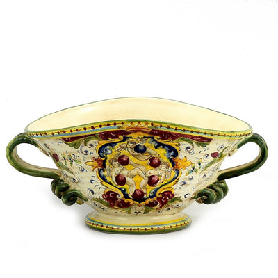 MAJOLICA MEDICI: Oblong Footed centerpiece bowl w two handles and DeMedici Crest