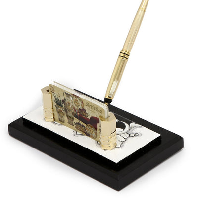 DERUTA VARIO NERO: Pen Stand and Business Card Holder on Black wood base