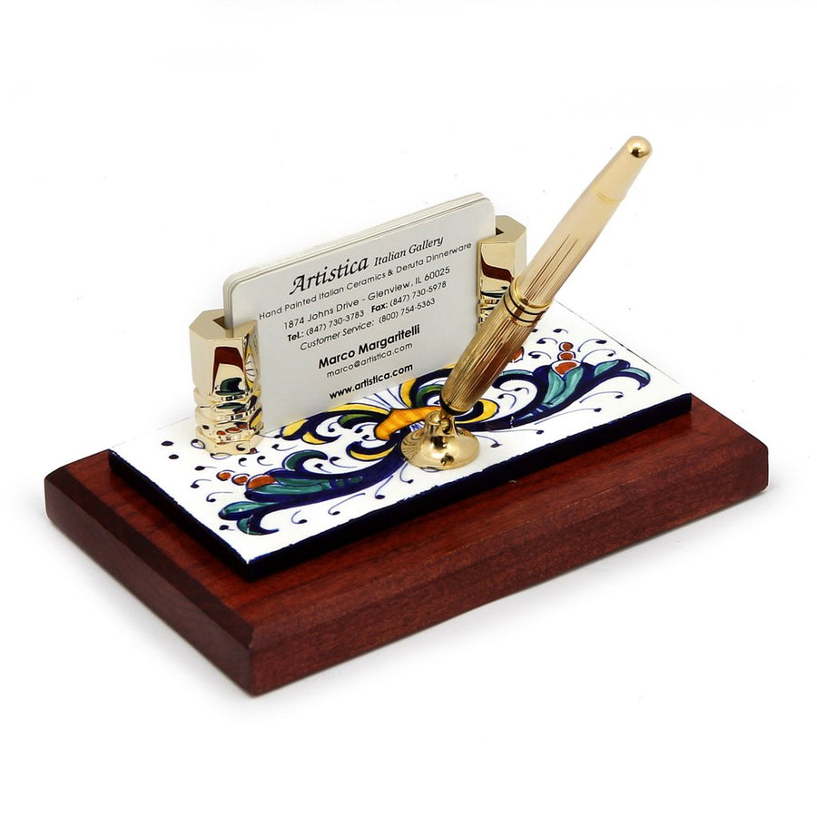 RICCO DERUTA: Pen Stand and Business Card Holder on Cherry wood base