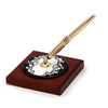 DERUTA VARIO NERO: Pen Stand Ceramic disc on Cherry wood base