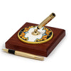 DERUTA VARIO ROSSO: Pen Stand Ceramic disc on Cherry wood base