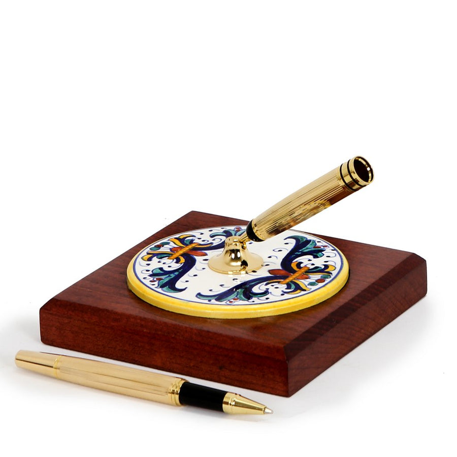 RICCO DERUTA: Pen Stand Ceramic disc on Cherry wood base
