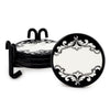 DERUTA VARIO NERO: Round Coaster Set of 4 with wrought iron holder