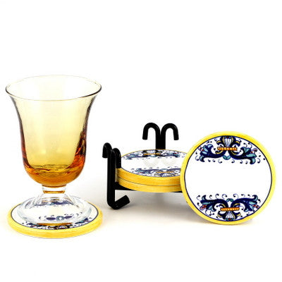 RICCO DERUTA: Round Coaster Set of 4 with wrought iron holder