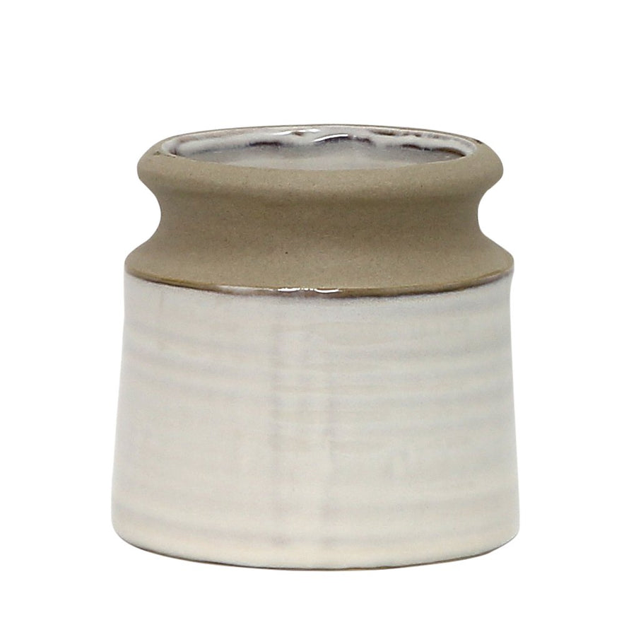 MONDIAL CANDLES: Tery Design Ceramic Container Candle WHITE/GRAY