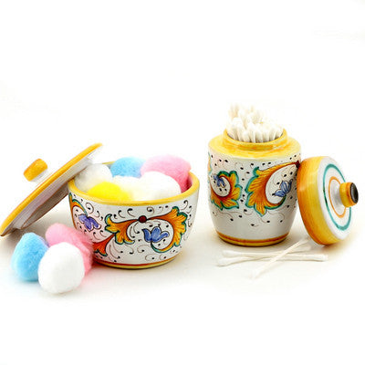 PERUGINO: Cotton Balls Jar and Cotton Swab Holder