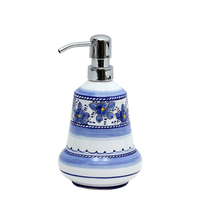 BLUE FIORI: Liquid Soap Lotion Dispenser with Chrome Pump (Medium 14 OZ) [NEW!]