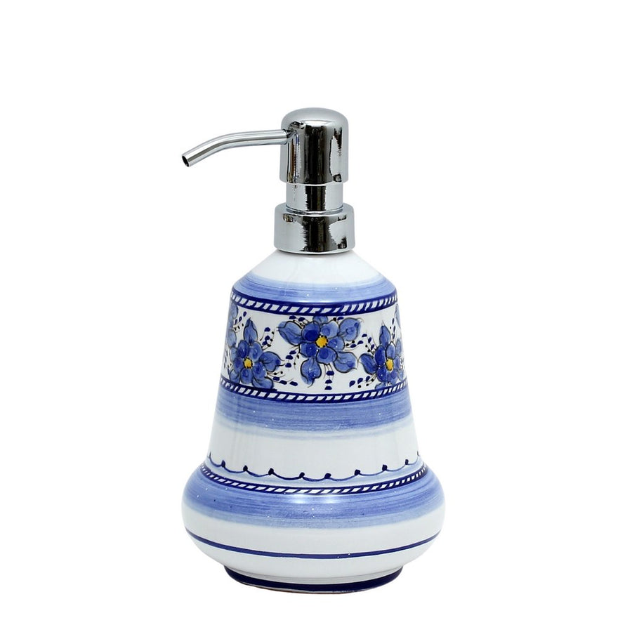 BLUE FIORI: Liquid Soap/Lotion Dispenser with Chrome Pump (Small 14 OZ)