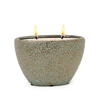 MONDIAL CANDLES: Corinth Design Oval Ceramic Container Candle Medium