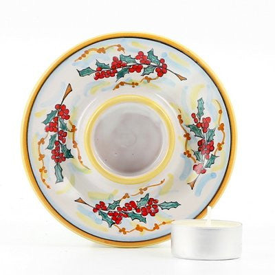 CHRISTMAS HOLLY: Deruta Tea Light Saucer