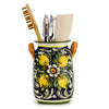 MAJOLICA TOSCANA: Utensil Holder ~ Limoni Fondo Blue Design