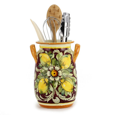 MAJOLICA TOSCANA: Utensil Holder ~ Limoni Fondo Bordeaux Design