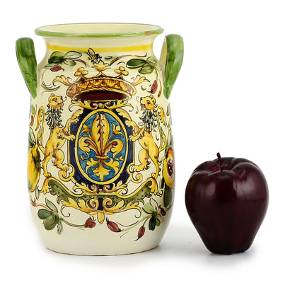 MAJOLICA TOSCANA: Utensil Holder ~ Crest and Fruit Design