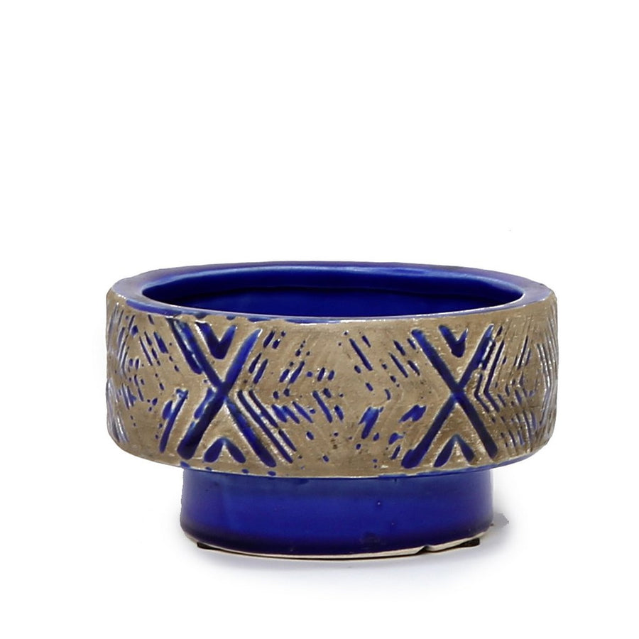 MONDIAL CANDLES: Blu Blue Design Ceramic Container Candle BLUE|-GRAY