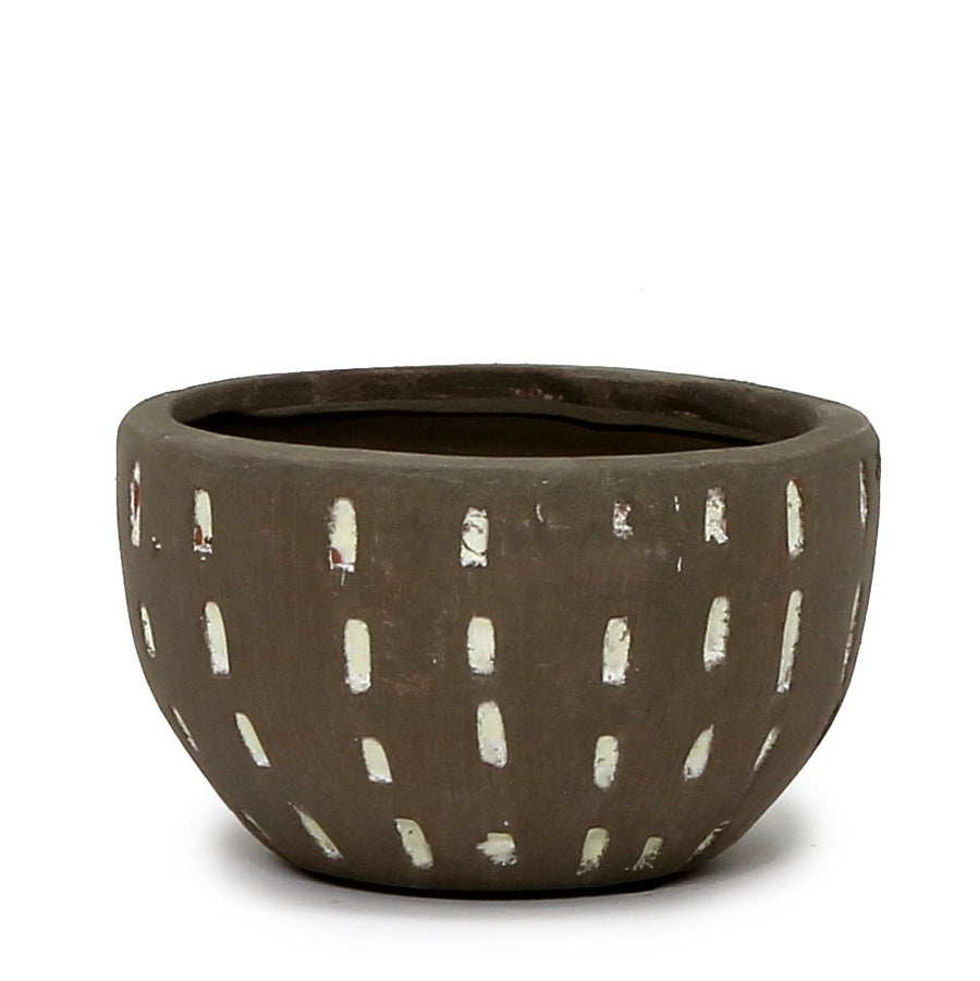 MONDIAL CANDLES: Mayan Brown Design Ceramic Container Candle TERRA GRAY/WHITE