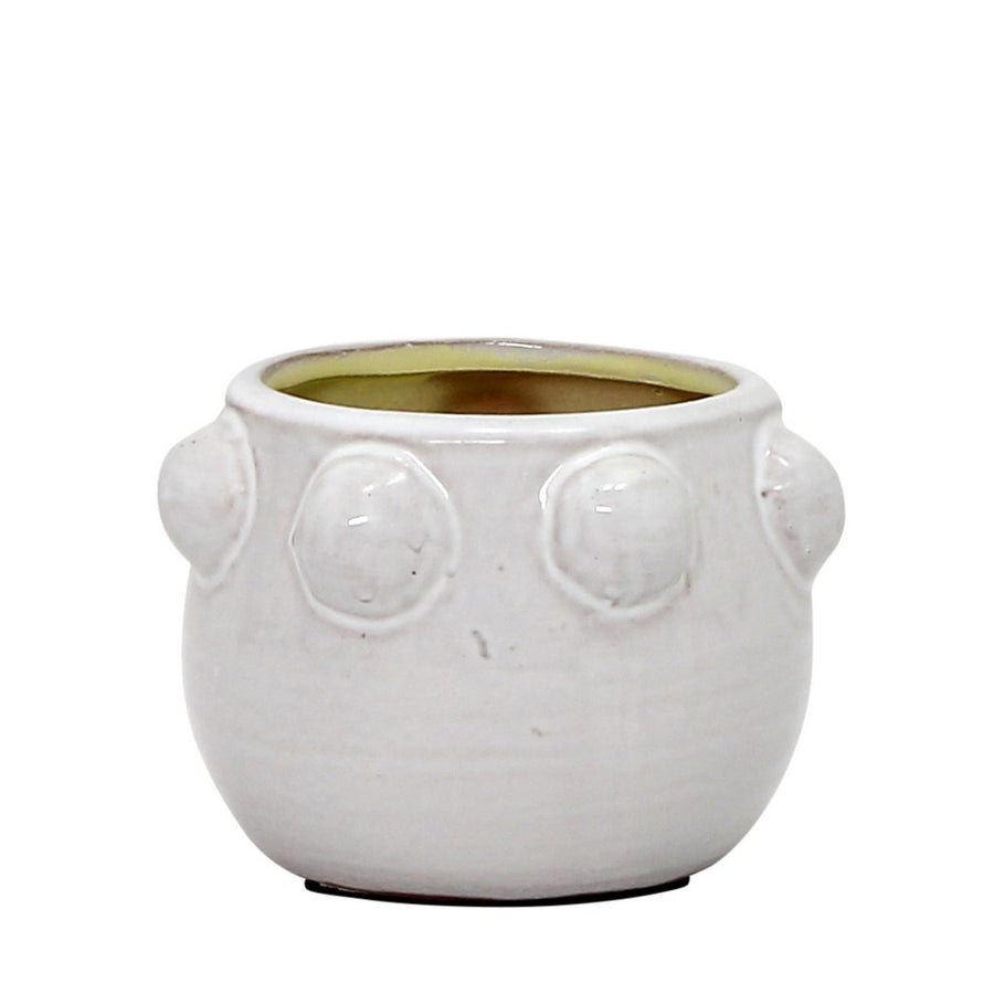 MONDIAL CANDLES: Fem Rosa Design Ceramic Container Candle WHITE