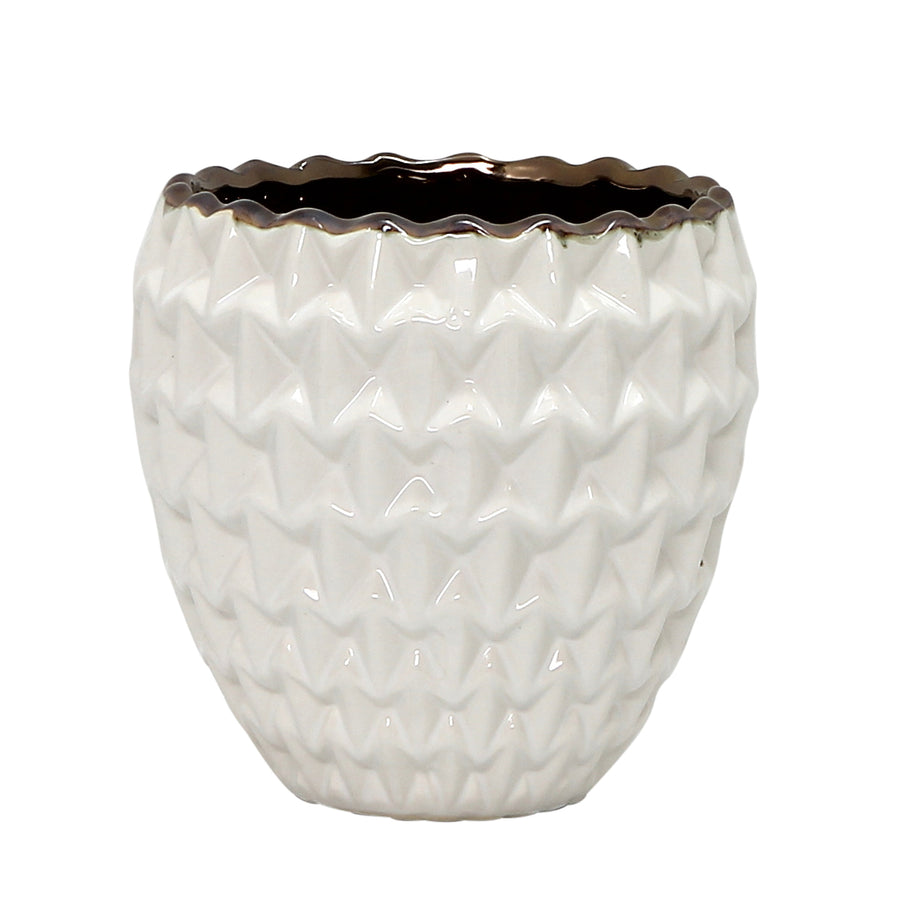 MONDIAL CANDLES: Melrose Design Ceramic Container Candle WHITE