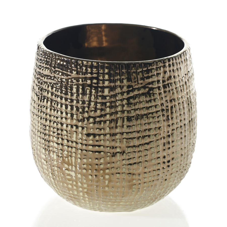 MONDIAL CANDLES: Hazel Design Ceramic Container Candle GOLD/BRONZE