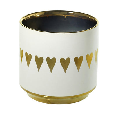 ROMANTICA: Valentine - Golden Heart Large Candle Vase Ceramic Container (30 Oz)