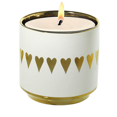 MONDIAL CANDLES: VALENTINO - Golden Heart Large Candle Vase Ceramic Container (30 Oz)