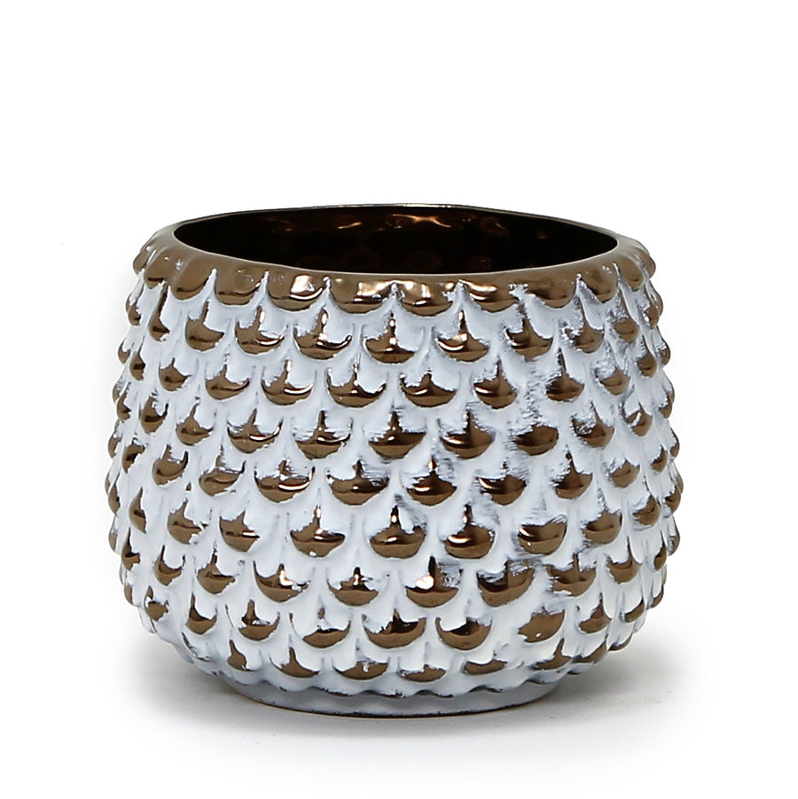 MONDIAL CANDLES: Reign Design Ceramic Container Candle WHITE/GOLD