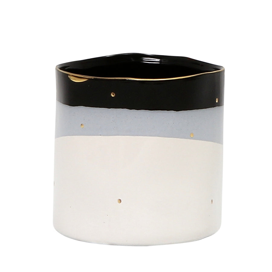 MONDIAL CANDLES: Lottie Dottie Design Ceramic Container Candle WHITE/GRAY/BLACK